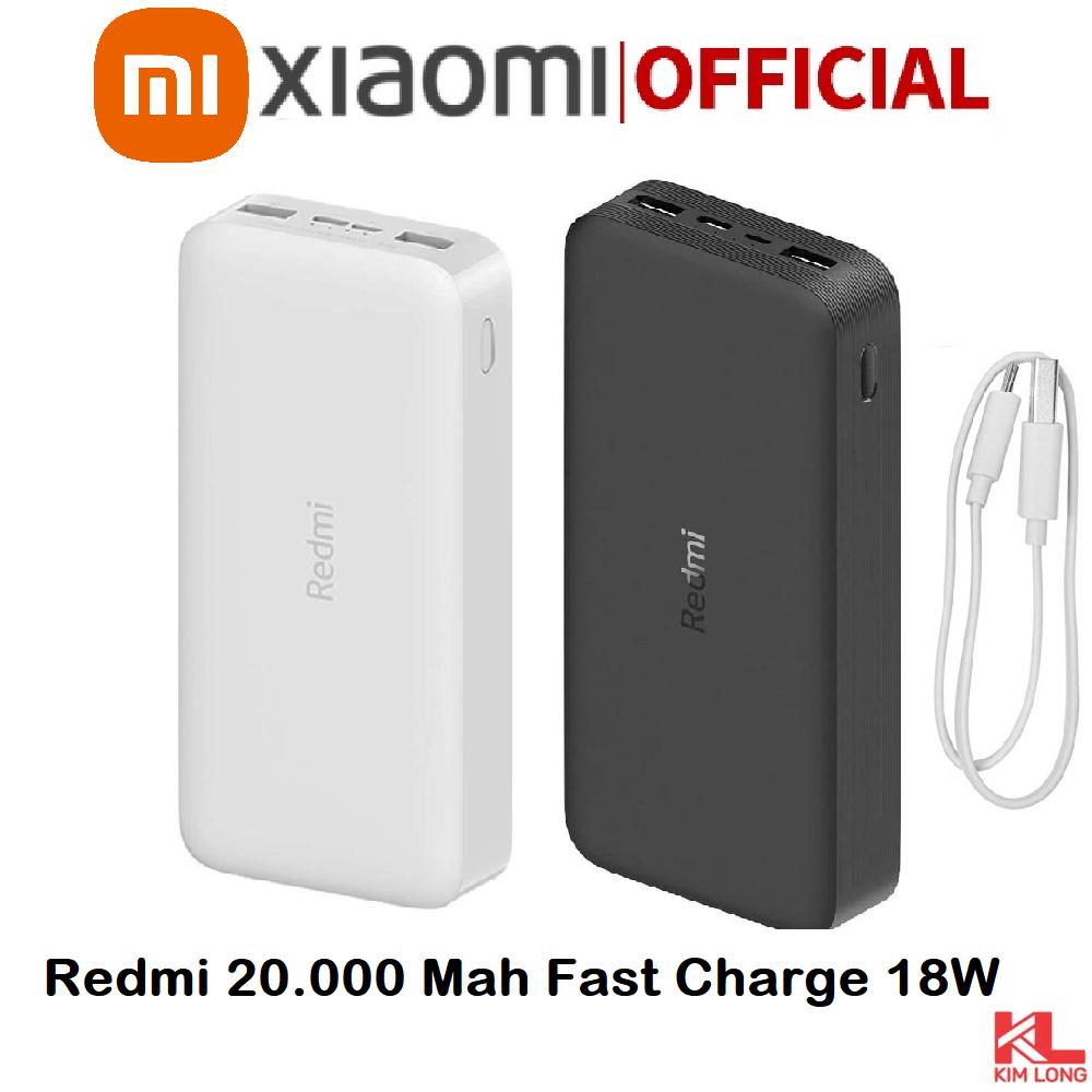 Sạc dự phòng Xiaomi Redmi 20000 mAh l Sạc nhanh Max 18W l Input: Micro USB & Type-C / Output: USB-A x2 – HÀNG CHÍNH HÃNG