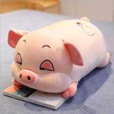 Raffer Gấu bông heo hồng vải nhung co giãn 4 chiều 40cm – Gấu bông hình con heo ngủ – Lợn bông xinh xắn đáng yêu RF417
