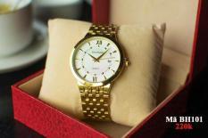 đồng hồ nam baishun dây vàng ,mặt trắng,BS09021 chống nước,chống xước tốt