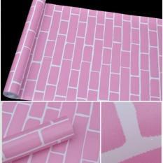 10m giấy dán tường giả gạch hồng khổ rộng 45cm có keo dán sẵn