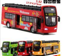 Mô hình xe buýt mui trần bằng sắt đồ chơi trẻ em xe chạy cót tỉ lệ 1:32