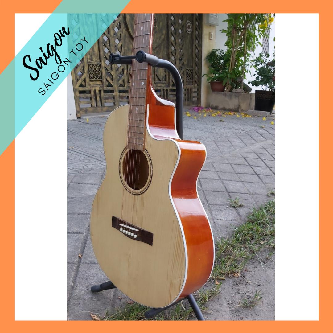 Đàn guitar acoustic cho người mới tập chơi tặng 4 món phụ kiện SGT003 chất liệu mặt trước gỗ hồng đào cao cấp, bấm nhẹ, không gây đau tay