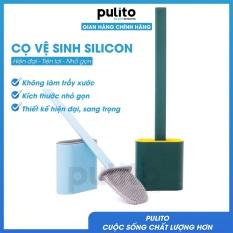 Cọ Vệ Sinh Toilet Bồn Cầu Bằng Silicon Tiện Lợi Pulito đầu silicon mềm cọ sạch mọi kẽ bẩn nhỏ, kèm 2 móc dán tường tiện lợi PT-CVS