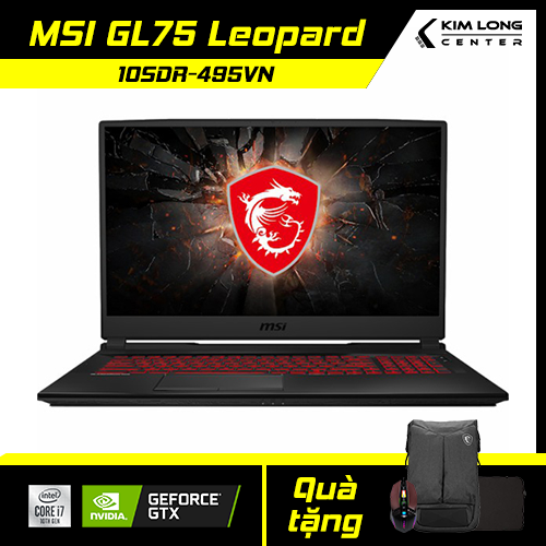 [GIẢM NGAY 1TR][TẶNG HDD 1TB] Laptop MSI GL75 Leopard 10SDR-495VN : i7-10750H | 16GB RAM | 512GB SSD | GTX 1660Ti 6GB + UHD Graphics 630 | 17.3 FHD 144Hz | Win 10