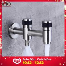 Vòi hồ 2 ống xả-kết hợp vòi máy giặt iNox 304 nguyên khối KD-VHK01( Bạc )