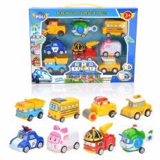 [HCM]Bộ hộp đồ chơi xe trớn hình 8 xe robot poli 3+