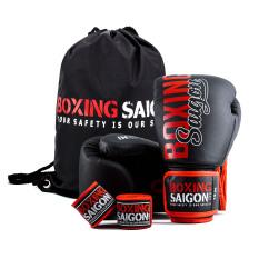 Combo Găng Tay Boxing Saigon + Băng Tay 4m5 (tặng túi rút) – Đen đỏ