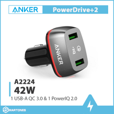Sạc ô tô Anker 2 cổng, 42w, Quick Charge 3.0 – [PowerDrive+ 2, 42w, QC 3.0] – A2224