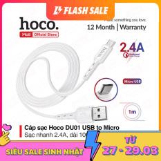 [ Mã giảm giá 60k cho đơn hàng từ 400k ] Cáp sạc nhanh và truyền dữ liệu Hoco DU01 USB Micro sạc nhanh 2.4A dây dẻo chống đứt dài 1m