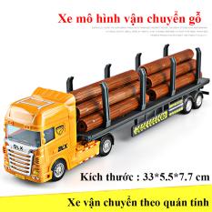 Xe đồ chơi mô hình xe đầu kéo vận chuyển gỗ, nhựa ABS an toàn, kích thước lớn