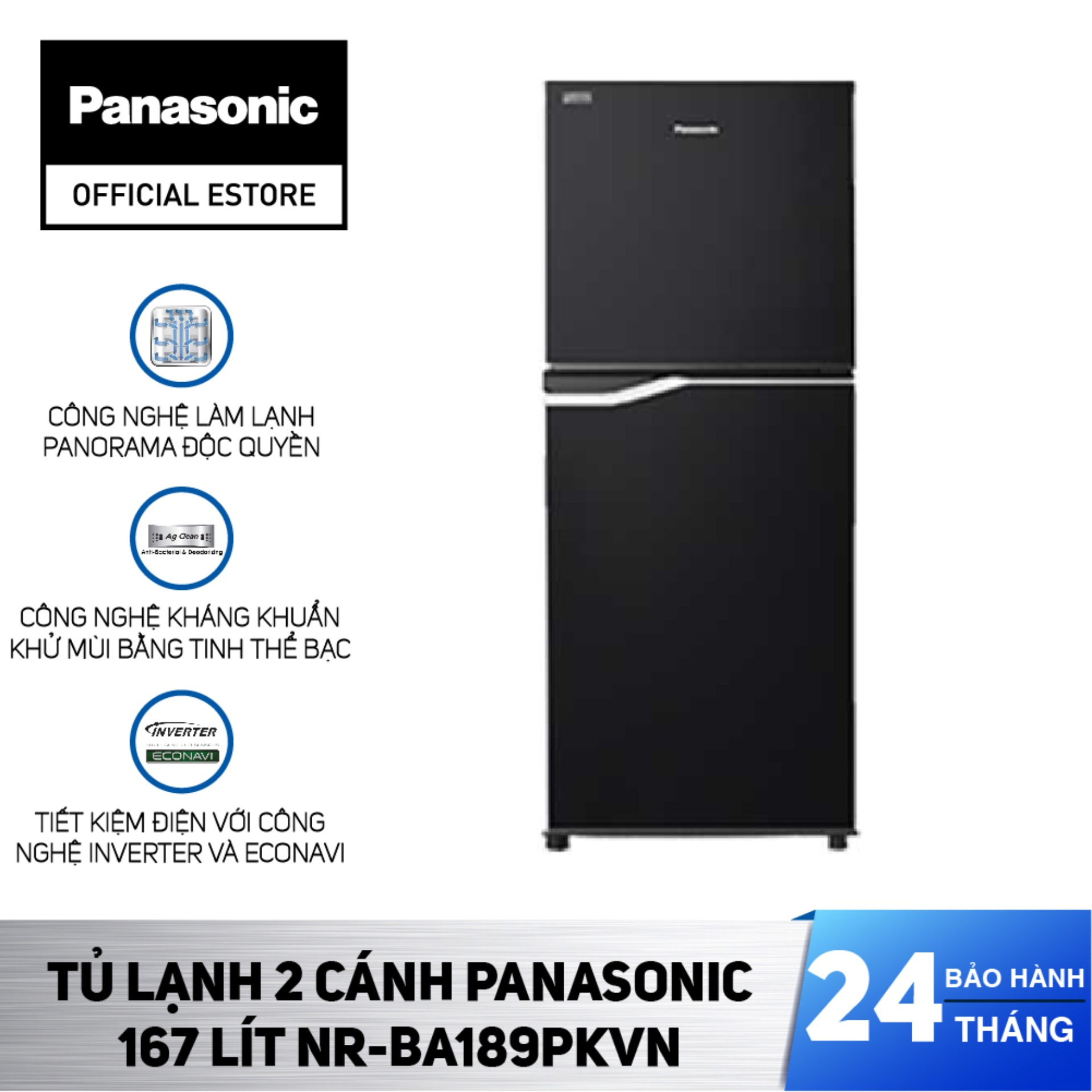 [Chỉ Giao HCM] Tủ Lạnh Panasonic 167 Lít Inverter NR-BA189PKVN – Kháng khuẩn tinh thể bạc Ag+ – Bảo Hành 2 Năm – Hàng Chính Hãng