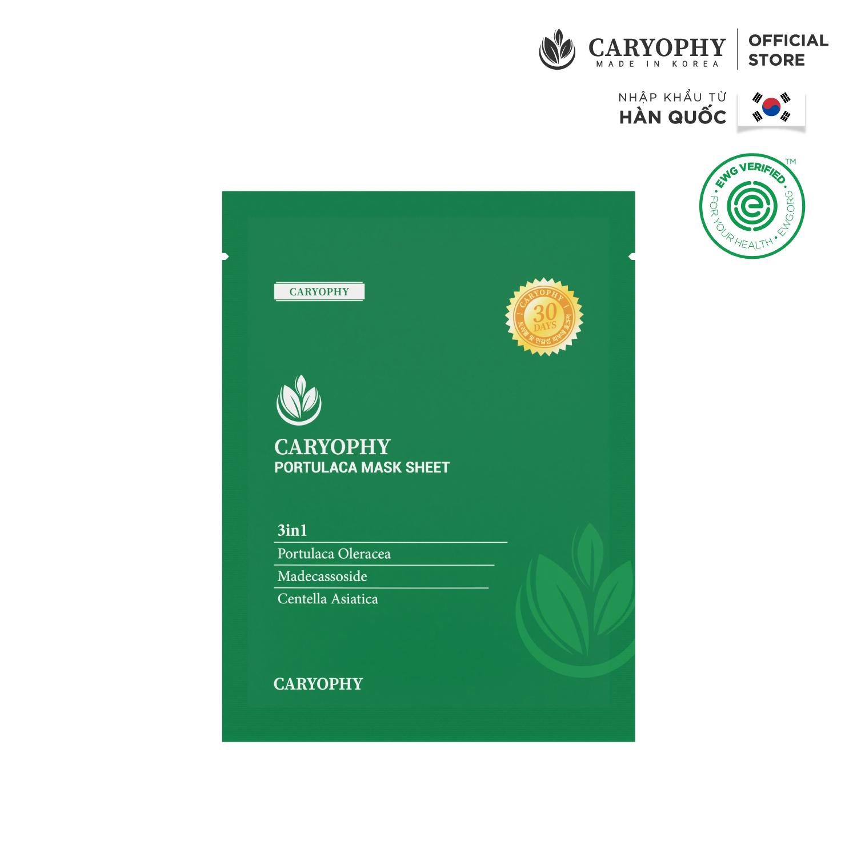 Miếng Mặt Nạ Caryophy Portulaca Mask Sheet 3IN1 Giúp Ngừa Mụn, Sạch Mụn Và Dưỡng Da Chuyên Sâu