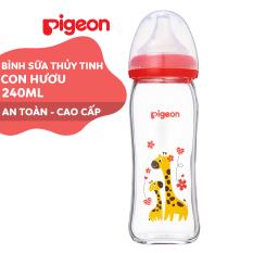 Bình sữa cổ rộng thuỷ tinh Plus 240ml Pigeon – Hươu Cao Cổ (M)
