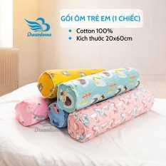 Gối ôm trẻ em cotton 100%, vỏ gối ôm size 20×60 cm ruột gối bông gòn trắng