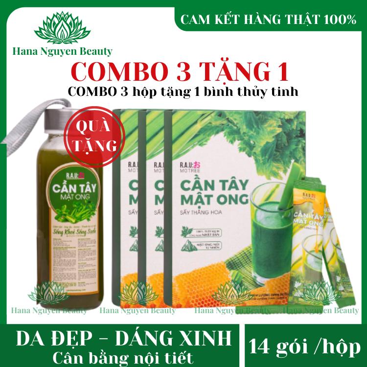 COMBO 3 HỘP Cần tây mật ong MOTREE hộp 14 gói – TẶNG 1 BÌNH NƯỚC THỦY TINH