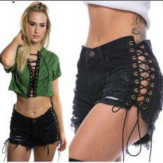 Quần short jeans rách đan dây Mã: QN803 – ĐEN