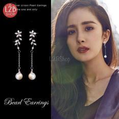 Bông tai bạc Ý s925 hình lá đính trân châu nhân tạo Hàn Quốc (BT01)