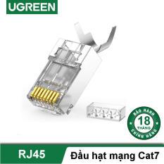 Hạt đầu bấm mạng bọc inox Cat6a Cat7 thiết kế đuôi kẹp cố định vào cáp, tốc độ 10Gbps UGREEN 70316