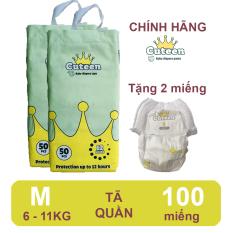 [Free ship + tặng 2 miếng] Tã/ bỉm quần Cuteen size M 100 miếng (6-11kg) siêu mỏng, siêu mềm, không hăm da