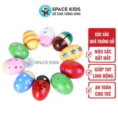 Đồ chơi trẻ em Lục lạc cho bé, Xúc xắc gỗ hình quả trứng nhiều màu sắc cho bé từ 3 tháng tuổi Space Kids