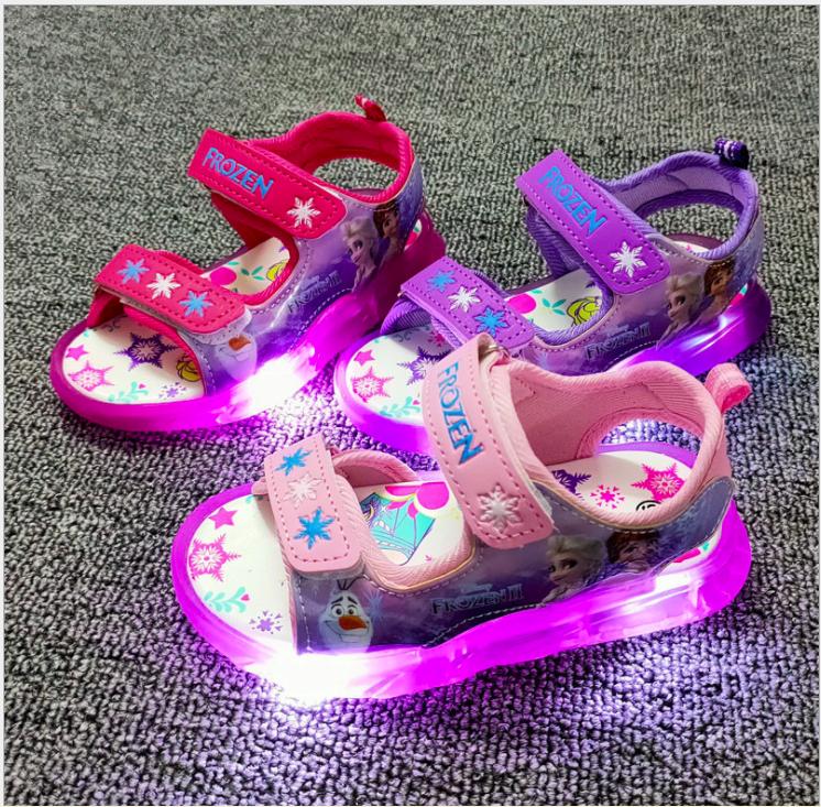 Giày xăng đan bé gái Elsa, hello Kitty, Mickey có đèn Led từ 1- 7 tuổi