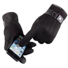 Găng tay nam chống nắng mẫu HOT năm nay da lộn chống tia UV phủ hạt nhựa chống trơn N1C01 (màu đen)