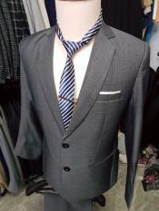 Bộ vest nam trung niên màu xám sáng chất liệu vải dày mịn sọc gân nhẹ