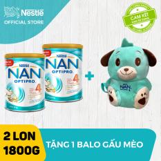 Bộ 2 lon sữa bột Nestle NAN Optipro 4 cho trẻ trên 2 tuổi 1.8kg + Tặng Balo chú gấu mèo bé