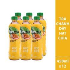 Combo 2 lốc 6 Trà hạt Chia Fuzetea hương Chanh Dây chai 450ml