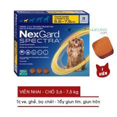 Thuốc nhai NexGard SPECTRA (01 Viên) Trị Ve, Ghẻ, Bọ chét và Tẩy Giun Trên Chó (3.6-7.5kg) – Nông Trại Thú Cưng