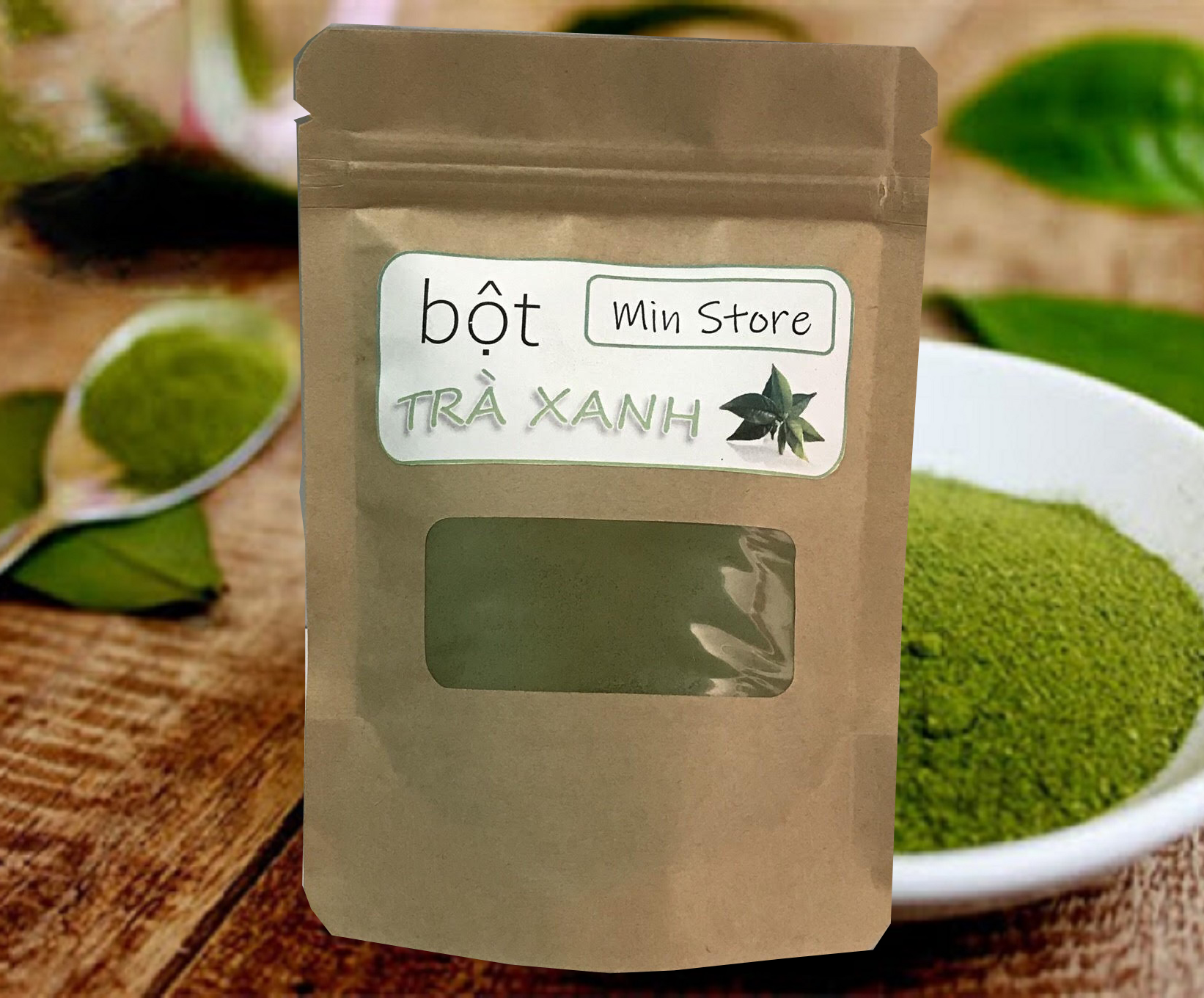 100g bột trà xanh mịn – nguyên chất 100% – túi 100g