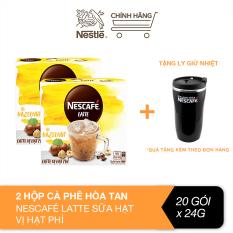 [Tặng ly giữ nhiệt] Combo 2 hộp cà phê hòa tan Nescafé Latte sữa hạt vị hạt phỉ (Hộp 10 gói x 24g)