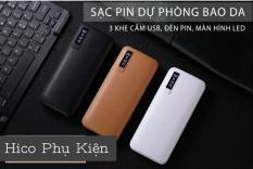 BIN SẠC DỰ PHÒNG NẠP PIN CỰC NHANH SAMSUNG/OPPO LCD 30000MAH BAO DA CAO CẤP – SẠC NHANH KHẨN CẤP