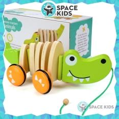 Đồ chơi cho bé Cá sấu gỗ có dây kéo Space Kids Đồ chơi vận động cho bé, chất liệu gỗ tự nhiên, nhiều màu sắc