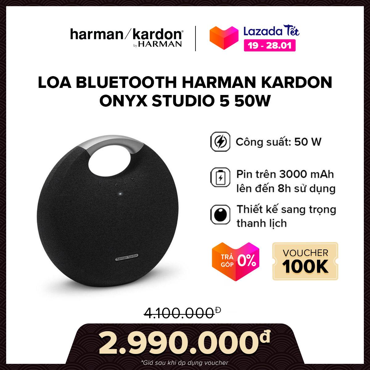 [VOUCHER 100K – TRẢ GÓP 0%] Loa Bluetooth Harman Kardon Onyx Studio 5 50W l Âm bass dày chắc khỏe l Thời gian phát nhạc liên tục đến 5 giờ l HÀNG CHÍNH HÃNG