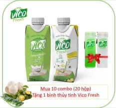 COMBO 2 HỘP NƯỚC DỪA VICO FRESH 330ML (1 DỨA , 1 TẮC) – MUA 10 COMBO TẶNG 1 BÌNH THỦY TINH VICO FRESH