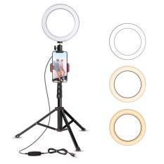 (XẢ KHO BÁN LỖ) Bộ Đèn Led Livestream 45CM (Full Chân Đỡ & Kẹp Điện Thoại),Công Suất 20W, Chân Cao Tối Đa 2,1m ,Gấp Gọn 70cm, 3 Chế Độ Vàng, Trắng, Vàng Pha Trắng, Đèn Led Mini, Hỗ Trợ Ánh Sáng – Chụp Hình – Livetream – Tiện Lợi.