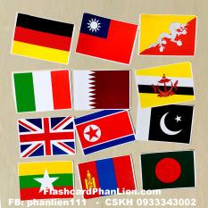 Thẻ học thông minh kèm SÁCH BÌA CỨNG 100 thẻ FLASHCARD cờ các nước nổi tiếng trên thế giới