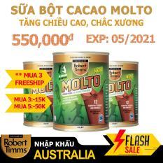 Sữa bột Canxi ca cao Robert Timms Molto Australia 450g giúp tăng trưởng chiều cao, bổ sung Canxi