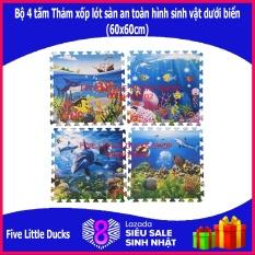 Bộ 4 tấm Thảm xốp lót sàn an toàn cho bé hình sinh vật dưới biển (60x60cm) – xuất xứ: Việt Nam