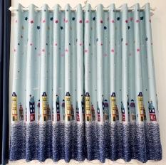 Rèm cửa sổ, cửa phòng ngủ chống nắng giá rẻ, hoạ tiết thành phố TNS-032