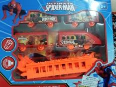Đường ray xe lửa đồ chơi loại lớn trung hộp 8 ray, 4 toa chạy pin siêu nhân Spideman cho bé yêu