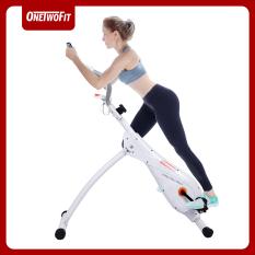 ONETWOFIT Xe đạp tập thể dục thẳng đứng, Xe đạp đạp trong nhà Xe đạp tập thể dục gấp Xe đạp tập tĩnh tại chỗ với 3 mức độ dốc được điều chỉnh và 8 mức độ kháng từ có thể điều chỉnh OT121G