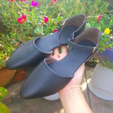 Giày Nữ Búp Bê Da Mọi Đen Mờ P90