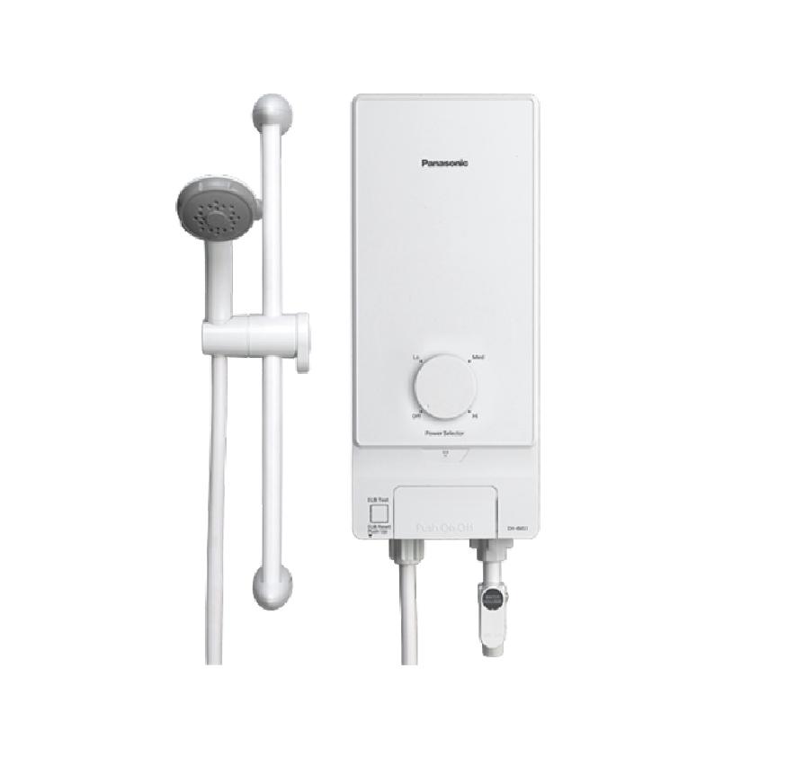 Máy nước nóng Panasonic DH-4MS1VW 4.5kW – An toàn khi sử dụng với cầu dao chống rò điện ELCB. Vỏ máy chống bụi, chống nước đạt chuẩn IP25. Vòi sen 3 chế độ phun với tính năng kháng khuẩn của Ag+ an toàn cho da. Cảm
