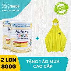 Bộ 2 lon Sản phẩm dinh dưỡng y học 2 lon Nutren Junior cho trẻ từ 1-10 tuổi 800g + Tặng 1 áo mưa cao cấp