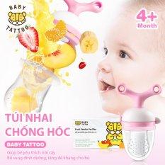 Túi Nhai Ăn Dặm Chống Hóc, Đầu Ti Silicone Cho Bé Từ 4 Tháng Tuổi BABY TATTOO