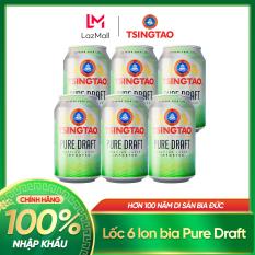 [11.11] Lốc 6 lon bia Tsingtao Pure Draft – Độ cồn 4.3% – Nhập khấu chính hãng 100%