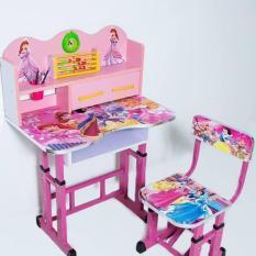 Bộ bàn ghế gỗ học sinh hoạt hình khung thép chắc chắn cho bé yêu