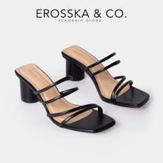 Dép nữ, Dép cao gót thời trang Erosska mũi vuông gót tròn phối dây quai mảnh kiểu dáng đơn giản cao 5cm EM038 (NU)